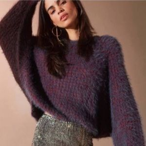 🌿 Urban Outfitters Purple Fuzzy Cropped Sweater